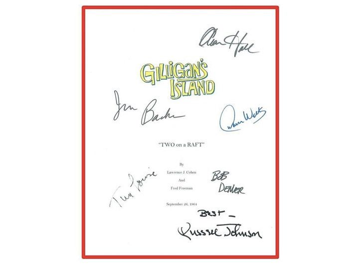 "Gilligan's Island ""Two on a Raft"" TV Pilot Script Signature Reprints Autographed Bob Denver, Alan Hale Jr., Jim Backus"