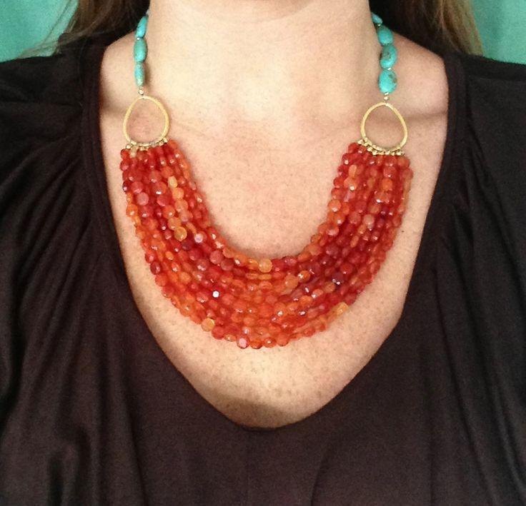 Carnelian and turquoise necklace by Hermosa Jewelry www.hermosajewelryblog.com