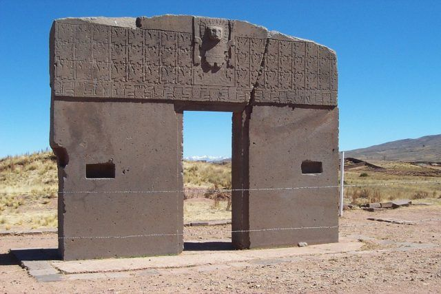"Constructed more than 1,500 years ago by the ancient Tiwanaku culture of Bolivia, ""The Gate of the Sun"" is a megalithic solid stone arch that has been puzz"