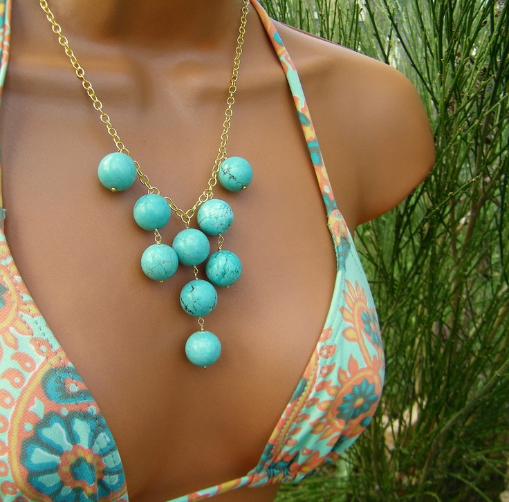 Turquoise Bib Necklace Bubbly Round Aqua Blue Stone by cuppacoffee