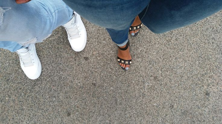 Black studded heels vs White sneakers #MeAndHim