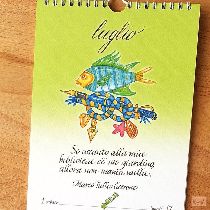 """""""Se accanto alla mia biblioteca c'è un giardino, allora non manca nulla."""" - Marco Tullio Cicerone a luglio sul calendario 2017 da muro Setteparole"""