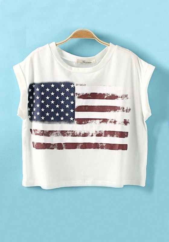 USA Flag T-shirt for the of July! Red White and Blue Patriotic American Flag  Color Block Short Sleeve Loose Cotton T-Shirt