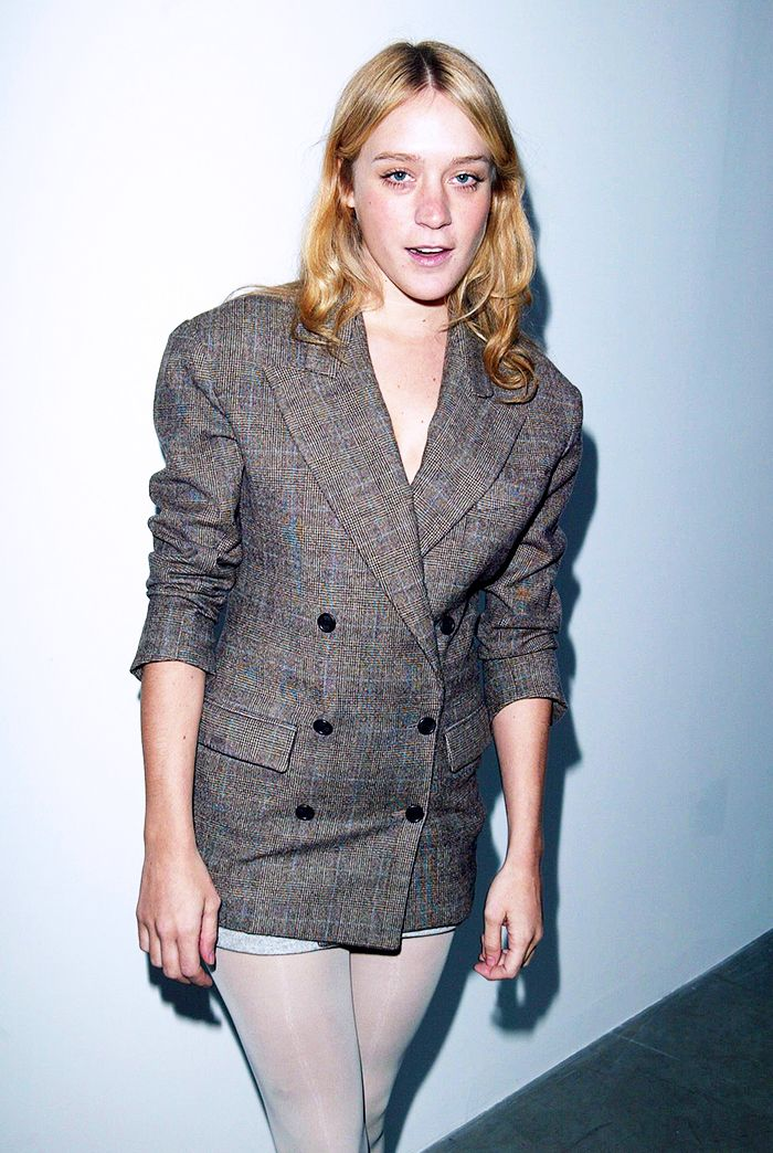 Chloë Sevigny in boyfriend blazer and sheer stockings