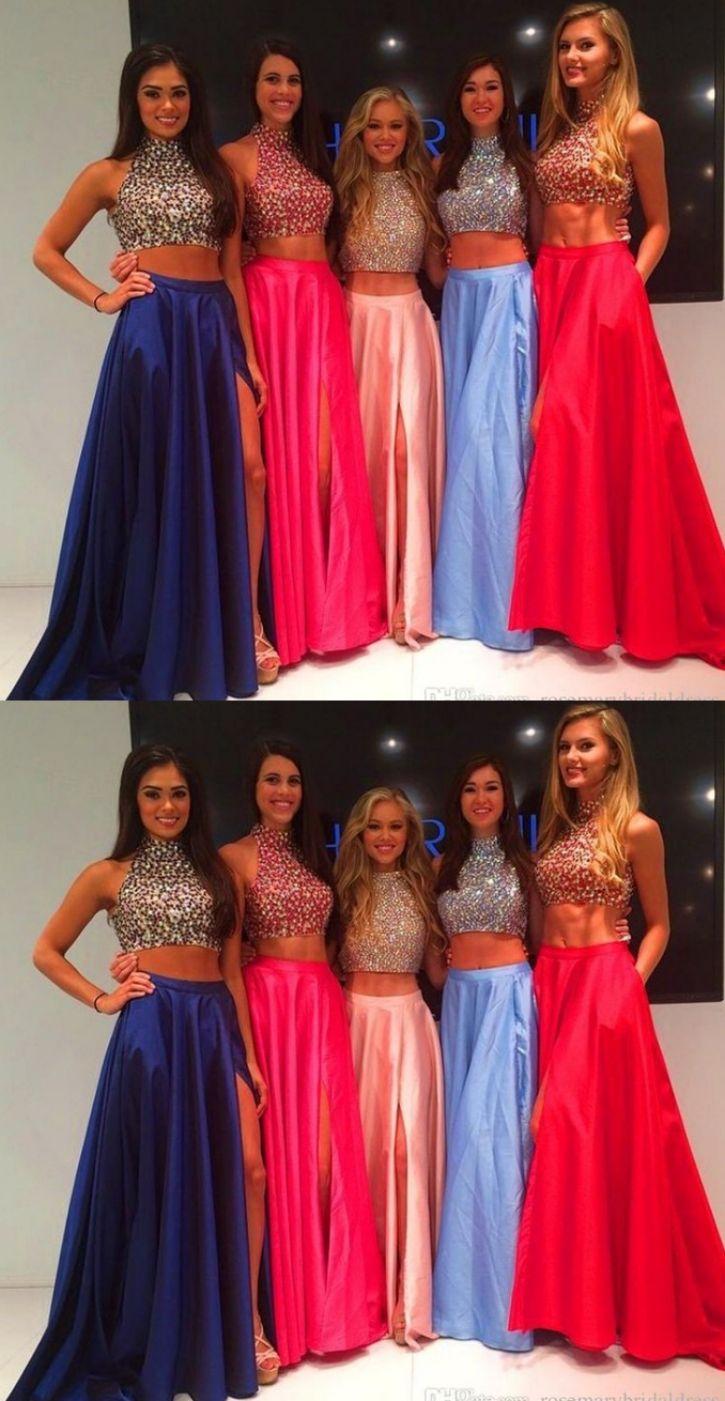Hot pink homecoming dress  Hot Sale Pink Evening Dresses Two Piece Prom Dresses Two Piece