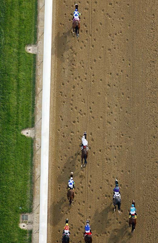 Barbaro at the Kentucky Derby. photo taken from the MetLife Blimp by Simon Bruty
