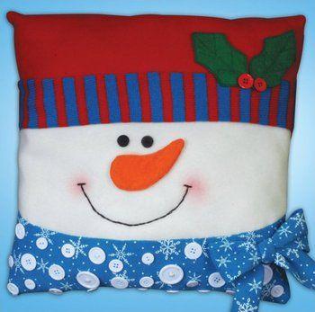 Snowman Button Pillow - Christmas Felt Applique Kit