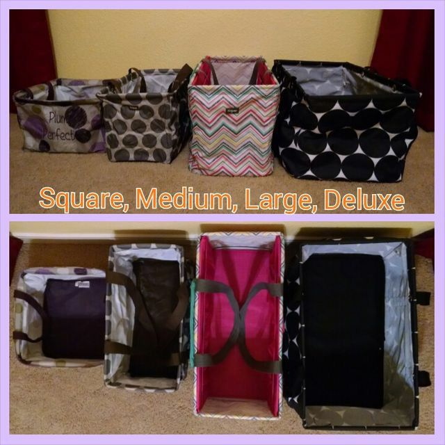 Size differences, left to right Square, medium, large, deluxe utility totes