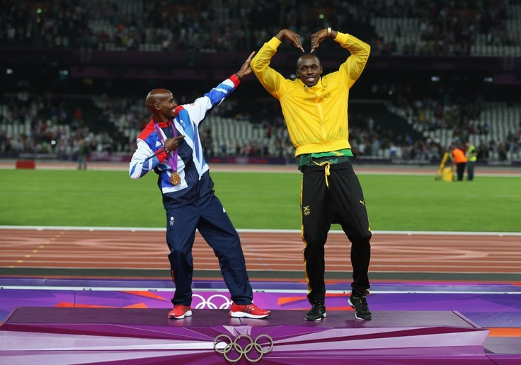 Mo Farrah (British, 2 Gold medals) and Usain Bolt (Jamaican, 3 Gold medals) - A little pictorial treat for you from the Olympic stadium this evening, and a snapshot of what every dance floor will look like from Stratford to Kingston, as Double Olympic Gold Medallists Team GB's Mo Farah and Jamaica's Usain Bolt exchange moves on the podium.