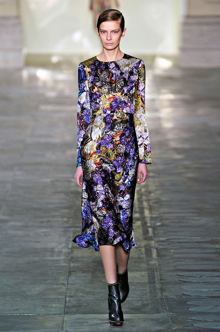 Moody floral prints are big for fall as seen here at Mary Katrantzou.