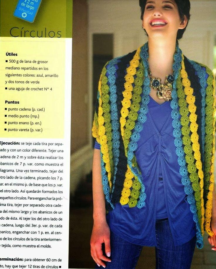Grace y todo en Crochet:  Shawl scarf made from circles!***Chal, Bufanda co...