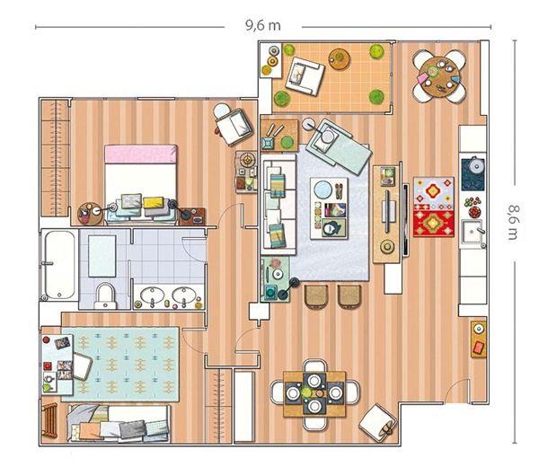 κατοικίες και εσωτερικούς χώρους - ανακαίνιση - Μαδρίτη - 80 τ.μ. - Φωτεινό και ευρύχωρο - σχέδιο