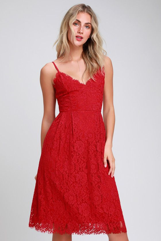 fa3fa1baf88a Treat yourself to the Lulus Royal Treatment Red Lace Midi Skater Dress!  This romantic dress is shaped from lovely floral eyelash lace that dances  over the ...