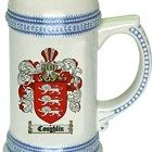 Coat of Arms Gifts and Family Crest gift store |  $21.99  at www.4crests.com - This stein starts with the family coat of arms hand drawn digitally. We then use a high quality 22 oz. ceramic stein to apply the coat of arms to via sublimation.