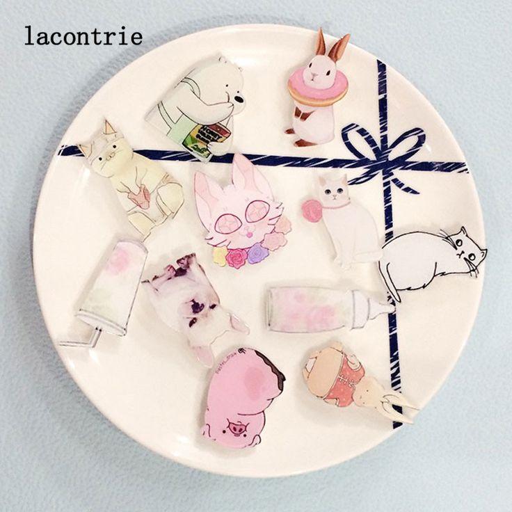 1 PCS Kawaii Pink Hewan Lencana Gratis Pengiriman Kartun Acrylic Lencana Ikon Ransel Dekorasi Kartun Ikon pada Pin