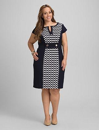 Plus Size Chevron Colorblock Dress | Dressbarn