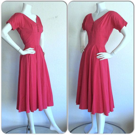 Anne Fogarty 1950s Vintage Dress ~ Hot Pink Dress ~ Raspberry Color Full Skirt Vintage Rockabilly Dress Raspberry ~ Dusty Pink ~ Size Small
