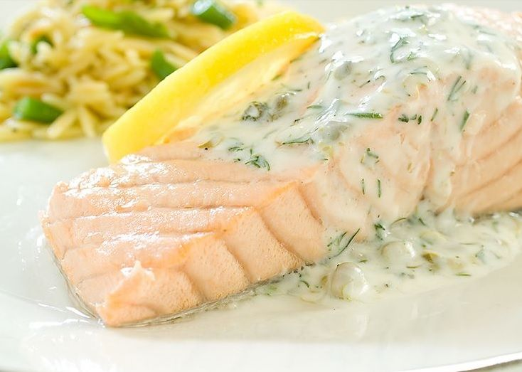 Poached Salmon with Yogurt-Dill Sauce http://www.1mrecipes.com/poached-salmon-with-yogurt-dill-sauce/  Visit www.1mrecipes.com for more seafood recipes from around the world.