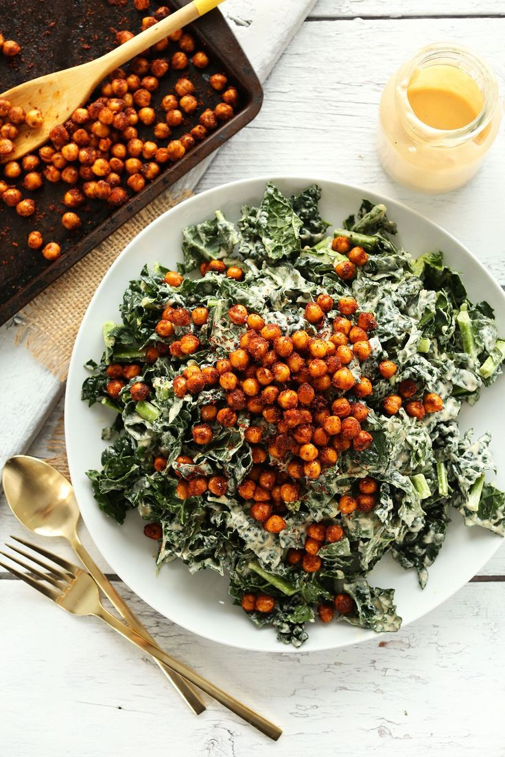 AMAZING Garlicky Kale Salad with Tandoori Spiced Chickpeas! 30 minutes and SO delicious! #vegan #glutenfree #salad