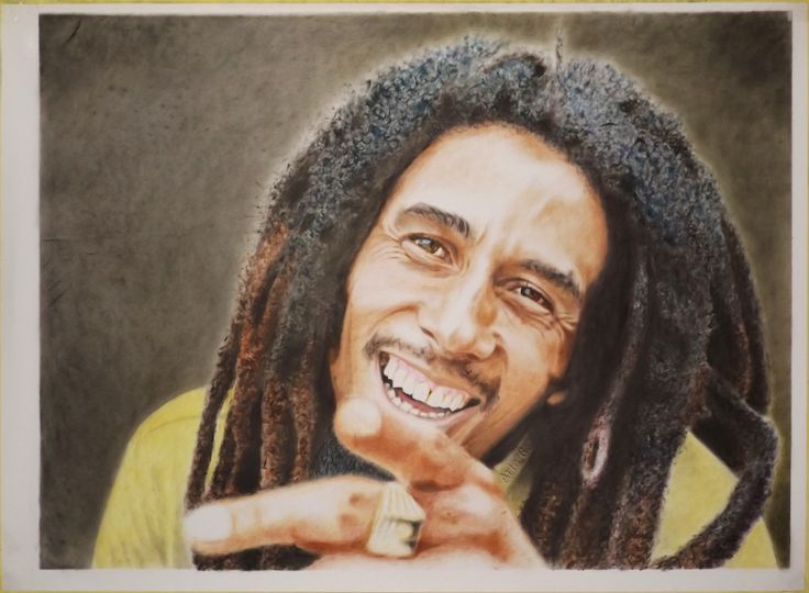 Robert Nesta Marley / Bob Marley was a great musician as a singer, songwriter, and guitarist of reggae, ska, and rocksteady music. He was born on 6 February 1945 and died on 11 May 1981.  Drybrush painting, 100 X 75 (cm).