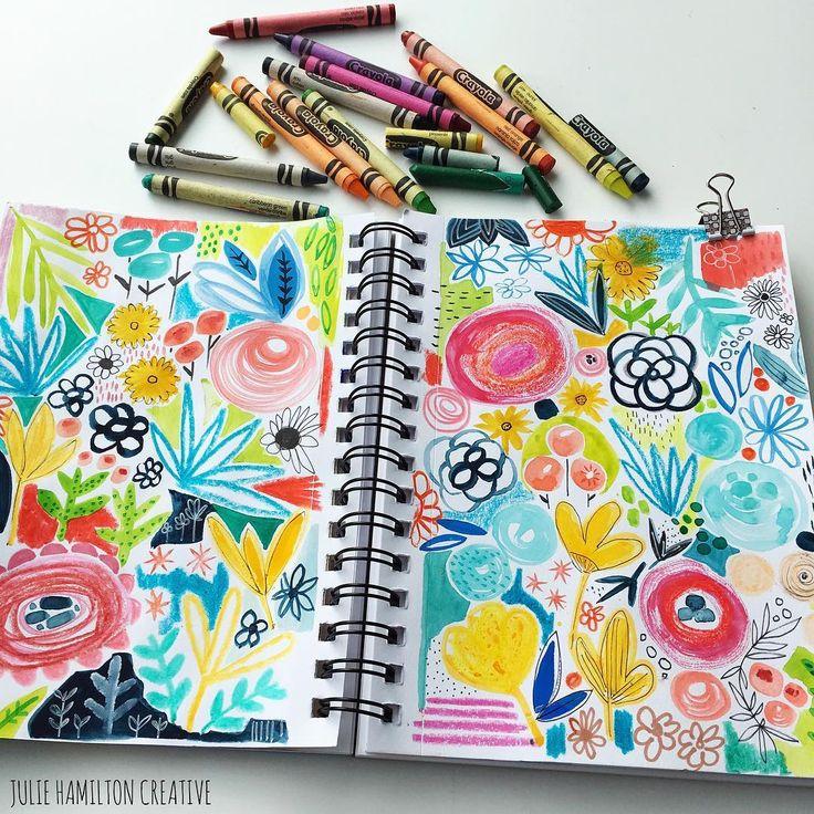 "JULIE HAMILTON (@juliehamiltoncreative) on Instagram: ""using all the crayola colors ..."" #crayola #surfacepatterndesign #floralillustration #sketchbook"