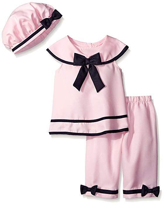 c8ee6ec28216d 50s Girl Costumes, Girls Pink Nautical Capri pants and top Set $31.88