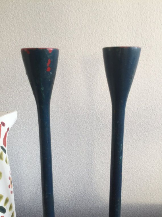 Blue Modern Candle Holders / Pair of Tall Mid by ShopRachaels