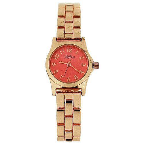 Reflex Ladies Analogue Baby Pink Dial Rose Tone Metal Bracelet Strap Watch LB117