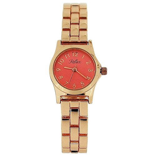 Reflex Ladies Analogue Baby Pink Dial Rose Tone Metal Bracelet Strap Watch LB117