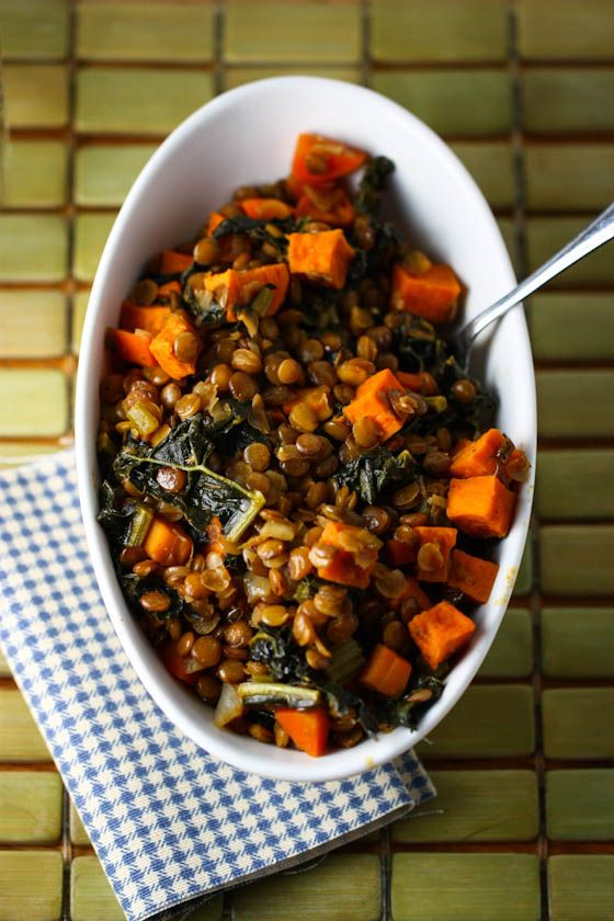 Spicy Lentils with Sweet Potatoes and Kale. This was delicious and filling; I used about 3/4 c lentils and a bit more broth and it turned out well.
