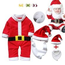 Baby Romper Santa Claus Long Sleeve Baby Rompers Infant Christmas Costume 3 pcs Newborn Toddler Red Winter Warm Outfits(China (Mainland))