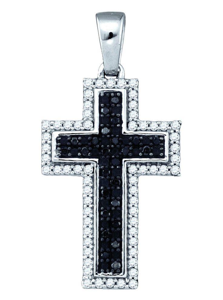 10kt White Gold Womens Round Black Colored Diamond Cross Faith Pendant 1/4 Cttw 81453