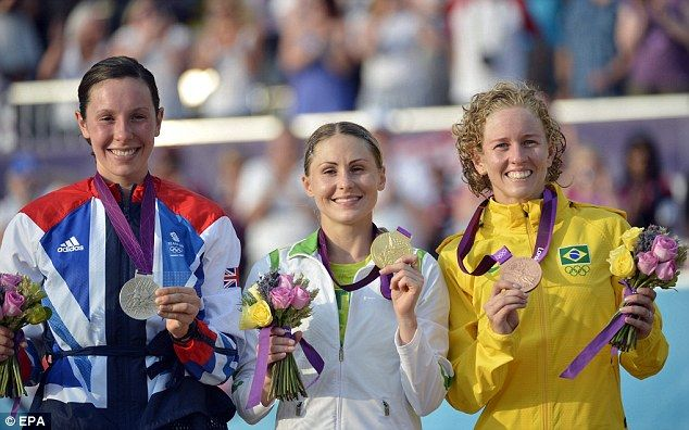 the women's modern pentathlon podium.  Lithuania gold, GB silver, and Brazil bronze!