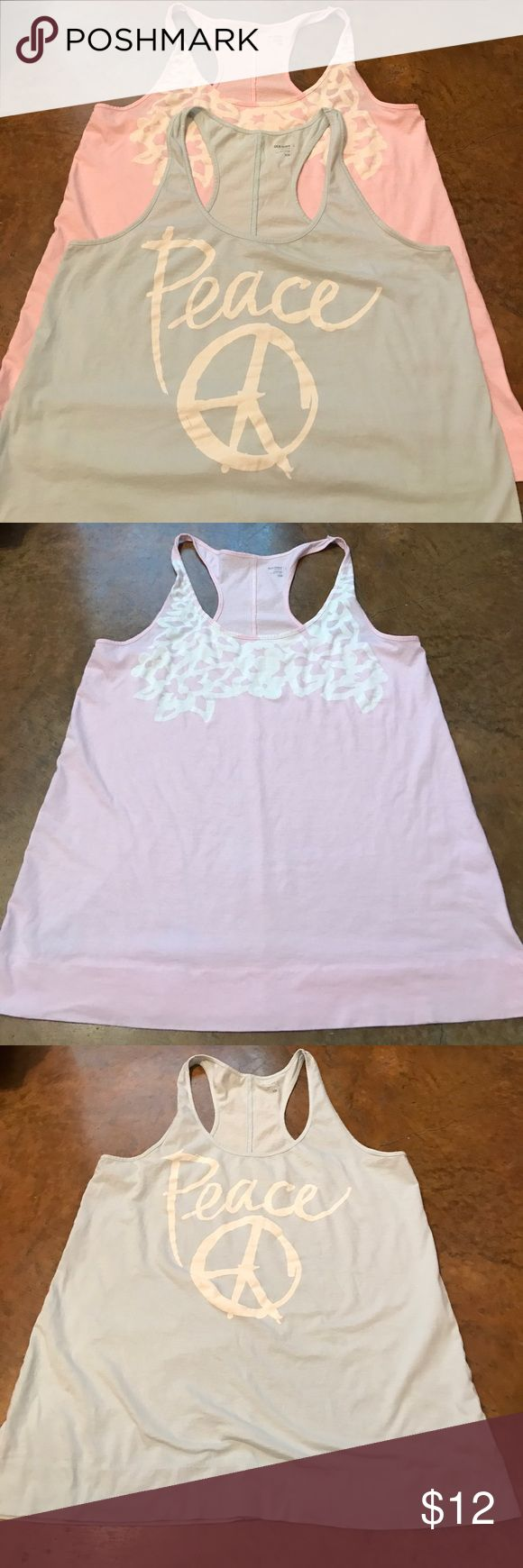 ☀️ Women's Old Navy Razorback Tanks (2) ☀️ GUC set of two (2) Old Navy Razorback tanks. One is pale blue with a peace symbol. The other is pale pink with a floral design. Both size large / L. Old Navy Tops Tank Tops