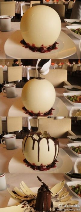 "This is a dessert called ""Night Pearl.""   Its egg shape is formed out of white chocolate. When hot dark chocolate is poured on top, the ""egg"" melts slightly, cracking open to reveal a dark chocolate truffle cake. -- good proposal idea"