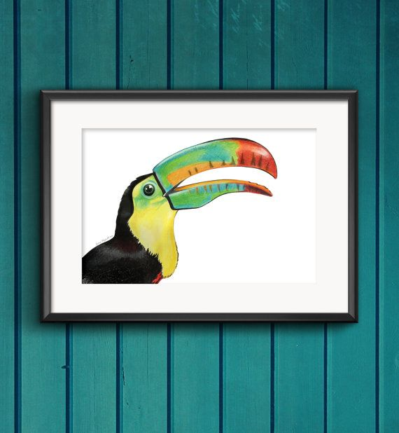 A4 Art Print    Toucan Joy by designsbyjaimee on Etsy