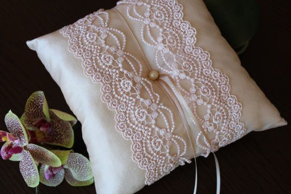 Blush Pink Ring Pillow Romantic Silk Wedding by SimpleEmpire