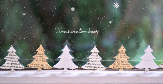 Fensterbilder Weihnachten Weihnachtsbaum Girlande von LaMiaCasa