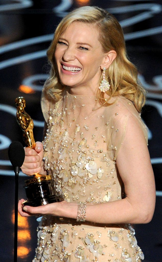 """2014 OSCARS: ALL THE BIG WINNERS! CATE BLANCHETT, BEST ACTRESS The stunning star jokingly told Julia Roberts to """"#suckit"""" after winning Best Actress for her role in Blue Jasmine."""
