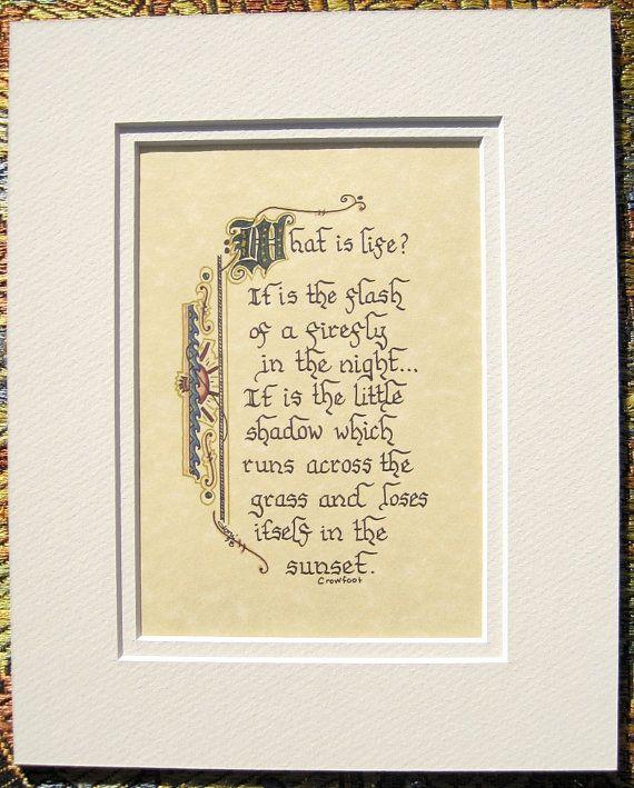 Native American Quote Calligraphy Art Print Crowfoot