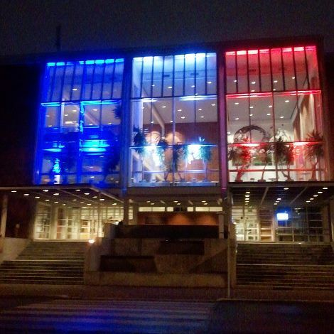 Kuopio Music Center in Kuopio, Finland displayed on 14th Nov 2015 the French tricolor in a show of solidarity after the Paris attacks. http://www.mtv.fi/uutiset/ulkomaat/artikkeli/myos-kuopio-pukeutui-ranskan-vareihin/5560088
