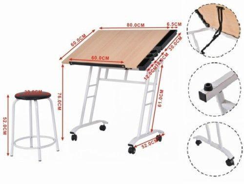 Drawing Table Tiltable Board Craft Art Drafting Easel Folding Desk Stool Drawer #Goplus
