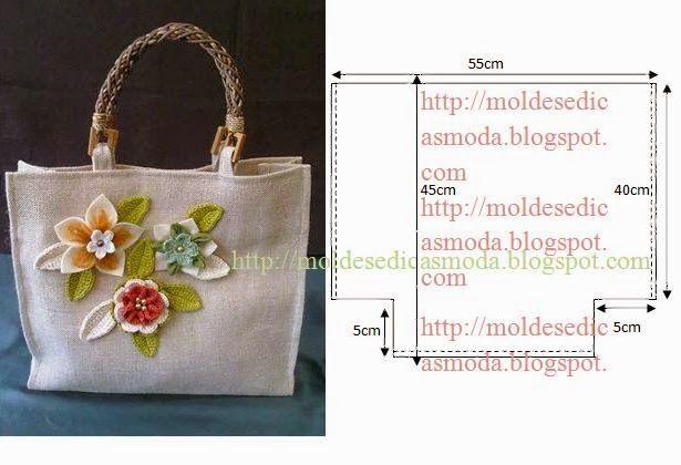 Este saco é muito fácil de modelar e costurar. O tecido deve ser encorpado por forma a manter as formas. As alças deve comprar já feitas nas retrosarias. A