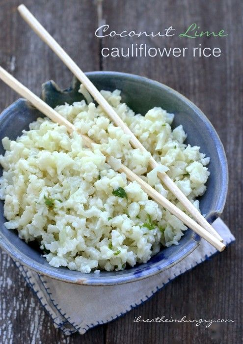 Coconut Lime Cauliflower Rice - A flavorful low carb and keto friendly rice substitute made with chopped cauliflower.