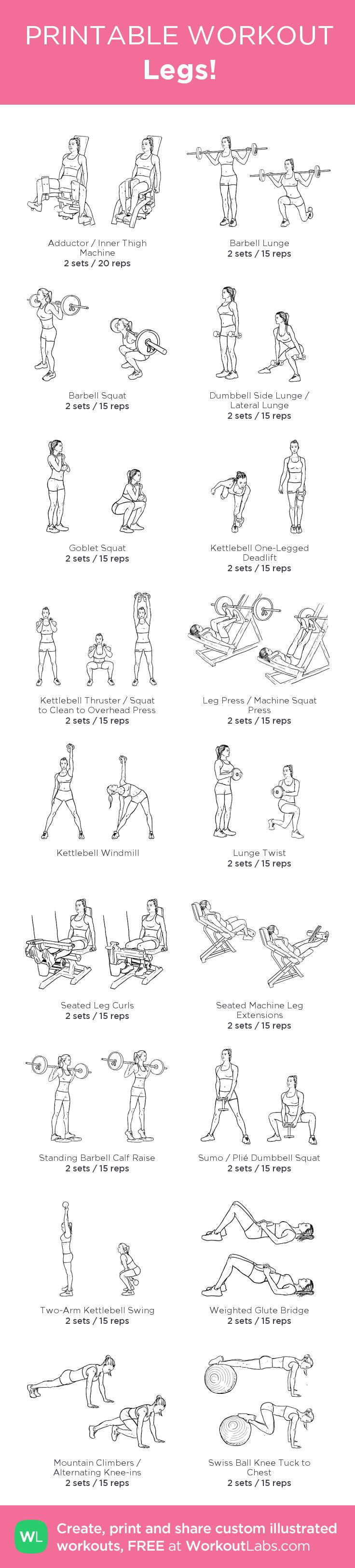 Legs! – my custom workout created at WorkoutLabs.com • Click through to download as printable PDF! #customworkout