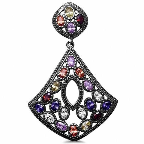 Fancy Black Tone Multicolored /& CZ Pendant 925 Sterling Silver Choose Color