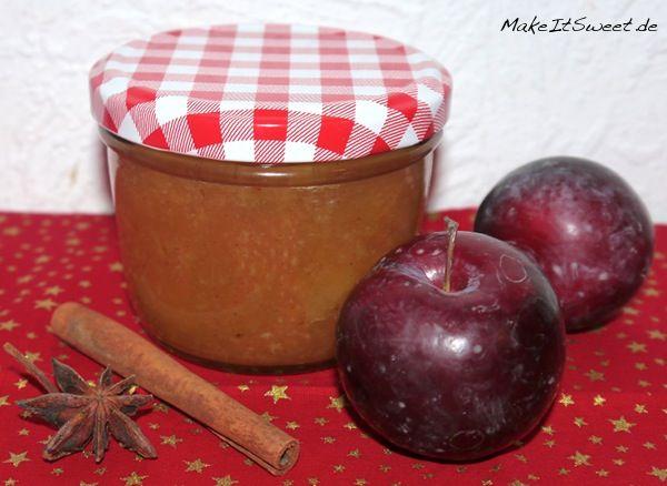 Weihnachts-Pflaumenkonfitüre mit Pflaumen, Zimt, Sternanis und Grapefruit