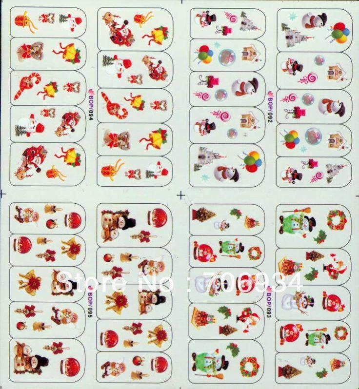 Рождество Ногтей Пропуск Воды Новая Вода Переводные Картинки 20 шт./lot4in1 Рождественский дизайн Ногтей Ногтей Наклейки Переноса Воды Ногтей стикер