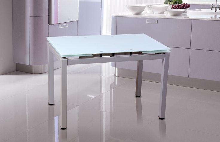 Mesa de cocina metálica gris plata con sobres en cristal blancos extensible. Medida 100 x 70 extensible a 170 x 70 Precio:180€ Ahora: 120€
