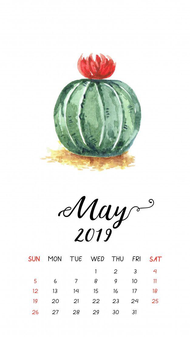 Watercolor cactus calendar for May 2019. Premium Vector ...